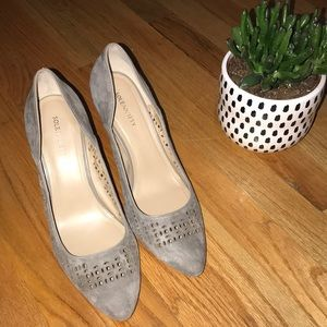 Suede taupe 3 1/2 inch wedged heel shoes.